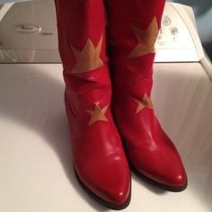 Red boots cowboy cowgirl western boots Red western boots with star. Great condition. Very comfortable MIA Shoes Ankle Boots & Booties