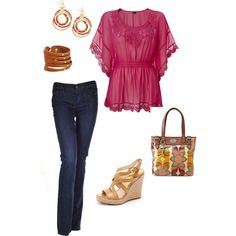 Weekend outfit pink top, jeans, boho accessories.  LOVE this pink top!!!