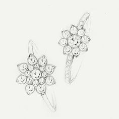 A sketch for the Tiffany Flower engagement ring. #wedding #rings