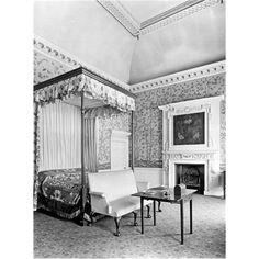 The striped bedroom at Wentworth Woodhouse. Pub Orig CL 11/10/1924