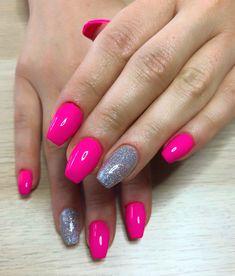 Neon pink nails Nail art Holographic nails