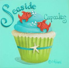 Cupcake Print Seaside Cupcakes by catherineholman on Etsy