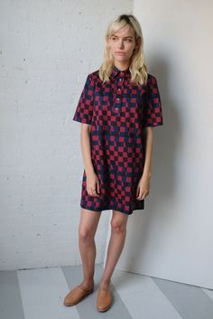 Double Check Short Collared Dress by dusen dusen