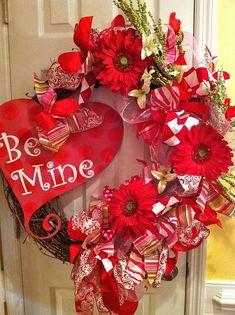 "Valentine's Day Wreath for Door.  ""Be Mine"" in a cute heart (Valentine Day) via itswrittenonthewalls.blogspot.com"