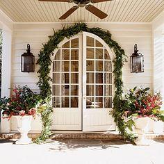 Christmas holiday garland, front door