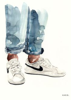 Worth a try! Painting # girl # watercolor # sample # aesthetics - heart - Worth a try! Girl Watercolor, Watercolor Illustration, Watercolor Paintings, Top Paintings, Watercolor Fashion, Watercolours, Kunst Portfolio, Fashion Illustration Shoes, Shoe Illustration