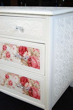 Love the glass knobs & paint-able embossed wallpaper for my furniture! Sweet Cottage Chic Dresser with Roses [embossed wallpaper & glass knobs] Decoupage Furniture, Refurbished Furniture, Repurposed Furniture, Shabby Chic Furniture, Furniture Projects, Furniture Makeover, Painted Furniture, Home Furniture, Vintage Furniture