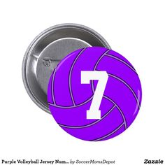 Purple Volleyball Jersey Number or Initials Pin - A great way to support your favorite volleyball team and player, especially those with purple team colors! #volleyball #purple #highschoolvolleyball #zazzle