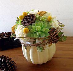 Thanksgiving Centerpiece White Pumpkin Autumn Floral Arrangement. via Etsy.