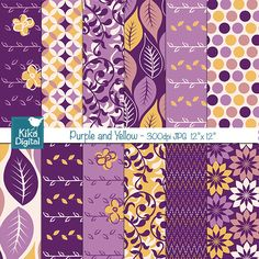 Purple and Yellow Digital Papers - great for scrapbooking, crafts, paper goods and more.