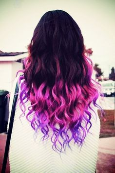 Pink and purple dip dyed hair #pink #purple #dipdye #dyed #curly #hair #hairstyles #beauty #bbloggers