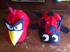 This is for crazy hat day. One angry bird and one lady bug finished at 3:00am. Things that you'll do for your kids.