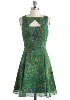 Slideshow and Tell Dress, #ModCloth.  I love the color and print but the neckline/keyhole is kind of bizarre