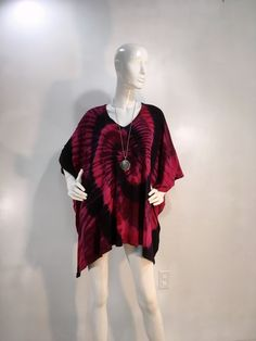 by qualicumclothworks on Etsy Poncho Tops, Black Tie Dye, Caftans, Pink Black, Cotton Spandex, Bamboo, Overalls, Ballet Skirt, Fabric