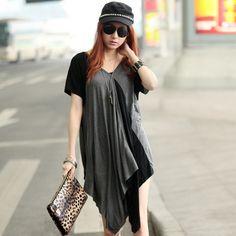 2014 spring and summer plus size clothing t-shirt short-sleeve fashion medium-long irregular  t-shirts women t shirt  $27.00