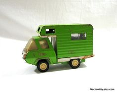 This screams Industrial Retro to me. 1970 Tonka Camper Green Truck Off Road Fun by Nachokitty on Etsy