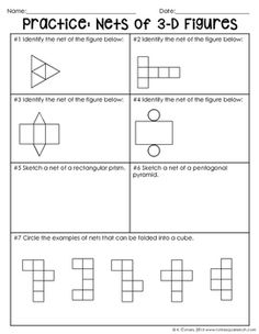 Nets of 3-D Figures Notes by To the Square Inch- Kate Bing Coners | Teachers Pay Teachers