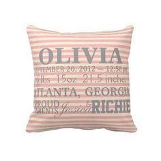 Customizable Chevron Baby Nursery Pillow  This customizable chevron nursery pillow will be the perfect addition to your elegant baby girl's nursery.    Perfect for a shower gift or for a welcome home present from mommy and daddy.