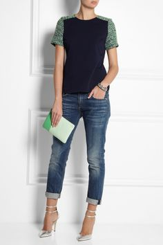 J.Crew|Two-tone textured-leather pouch|NET-A-PORTER.COM