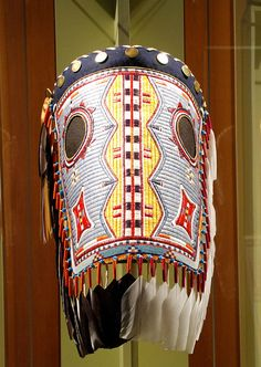 NATIVE AMERICAN HORSE MASK:  quilled horse mask