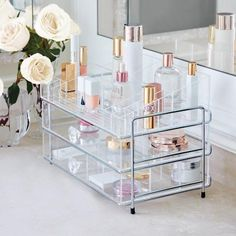 Clear away clutter while you arrange your beauty essentials exactly the way you want them with our Luciana Customizable Acrylic Organizer. Made of strong, crystal clear acrylic, the top tray and middle drawer have moveable dividers for makeup, nail polish Clear Acrylic Makeup Organizer, Makeup Storage Organization, Make Up Organiser, Jewelry Hanger, Jewelry Armoire, Luxury Home Decor, Bath Accessories, Best Makeup Products, Beauty Products