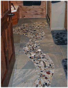 design concept idea for a rustic cabin bathroom stone tile floor