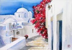 """Santorini , Grecia"" acquerello 35x51 di Lorenza Pasquali Paintings www.lorenzapasquali.it Copyright © Lorenza Pasquali-"