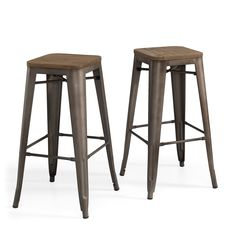 Tabouret Vintage Wood Seat Bar Stool (set Of 2)