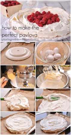 How To: Make the Perfect Pavlova for Valentine's Day Dessert! How To: Make the Perfect Pavlova for Valentine's Day Dessert! Meringue Desserts, Just Desserts, Delicious Desserts, Dessert Recipes, Yummy Food, Meringue Food, Trifle Desserts, Australian Pavlova, Raspberry Pavlova