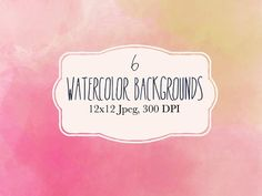 6 Pink watercolor backgrounds by The little cloud on @creativemarket