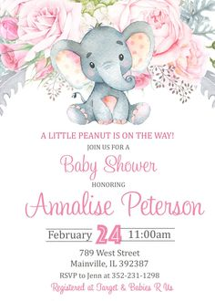Baby Elefant Fotos Elefantenbaby Fotos – New Ideas Baby Girl Elephant, Elephant Theme, Elephant Baby Showers, Pink Elephant, Elephant Cakes, Baby Girl Shower Themes, Girl Baby Shower Decorations, Baby Elefant, Baby Shower Invitaciones