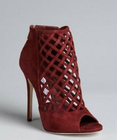 Jimmy Choo: burgundy suede latticework vamp back zip 'Dane Sue' peep toe booties