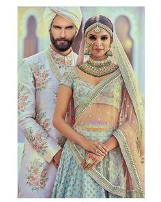 Indian Fashion — The Udaipur Collection by Sabyasachi Mukherjee Couple Wedding Dress, Desi Wedding Dresses, Indian Wedding Outfits, Bridal Outfits, Indian Outfits, Bridal Dresses, Deepika Ranveer, Deepika Padukone, Ranveer Singh