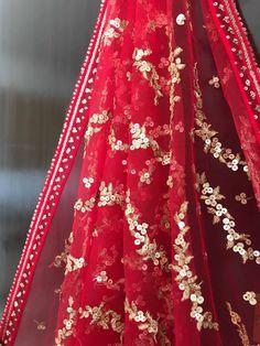 The Bridal Red Dupatta Only – WaliaJones Womens Dress Suits, Dress Clothes For Women, Indian Bridal Outfits, Pakistani Bridal Dresses, Saree Dress, Anarkali Gown, Lehenga, Bridal Dupatta, Beaded Lace Fabric