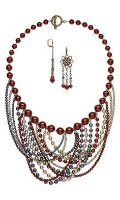 Jewelry Design - Bib-Style Necklace and Earring Set with Swarovski Crystal - Fire Mountain Gems and Beads