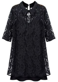 Black Lapel Half Sleeve Embroidery Lace Dress - Sheinside.com