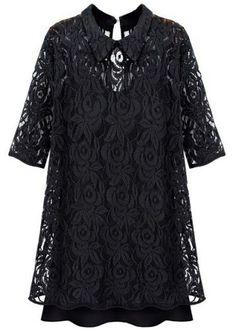 Black Lapel Half Sleeve Embroidery Lace Dress - Sheinside.com