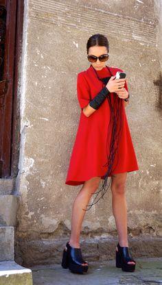 Nouvelle Collection Sexy petite robe rouge / rouge robe / Extravagant lâche robe / robe de soirée / robe de vêtements de jour par AAKASHA A03220
