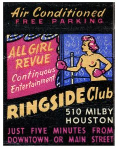 Ringside Club #burlesque #topless #Matchbook Order your advertising #matches at GetMatches.com