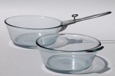 early vintage Pyrex flameware blue tint glass pans w/ antique metal clip on handle