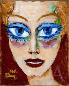 Kees Van Dongen Woman with Blue Eyes, oil on canvas, Albertina, Vienna. It is hard not to be intimidated by the penetrating blue eyes of the lady in Kees van Dongen's Woman with Blue Eyes, which seems to be ready to glare at anyone that comes. Raoul Dufy, Henri Matisse, Art Fauvisme, Maurice De Vlaminck, Woman With Blue Eyes, Inspiration Artistique, Muse Art, Dutch Painters, Art Database