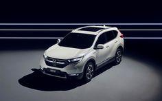 Download wallpapers Honda CR-V Hybrid Prototype, 2018 cars, crossovers, white CR-V, japanese cars, Honda