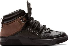 Dolce & Gabbana Black Leather High-Top Sneakers
