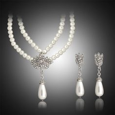 DROPKICKS STOCK ITEM  2016 new fashion sapphire bridal wedding african  turkish jewelry sets statement Simulated Pearl drop earring accessories efe924a148bf