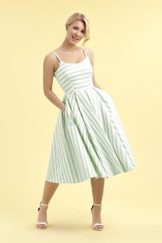 Priscilla Mint & White Candy Stripe Midi Dress