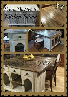 from buffet to rustic kitchen island, kitchen design, repurposing upcycling, rustic furniture
