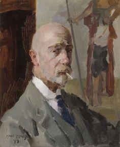 Isaac Israëls (1865-1934) - Zelfportret met doek van Javaanse prins Jodjana (1919)