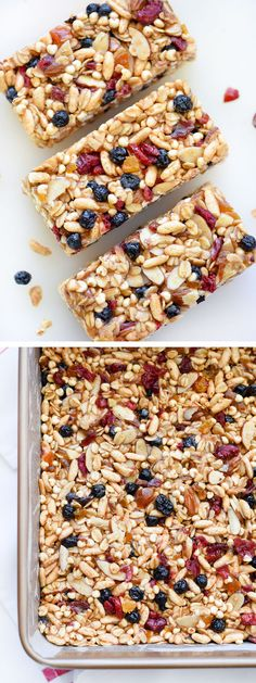 Chewy Almond Butter Power Bars - With puffed brown rice and puffed millet give the bars a texture like rice cereal bars, minus the refined sugar and marshmallow fluff.
