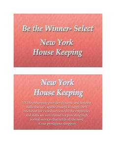 Give NY Housekeeping a call and you'll get all your solutions to most sophisticated cleaning tasks which are covered by NYHK's 10-points services standards which include: Easy adaptive services as per locality and customer demands, Most reasoned and affordable prices etc.