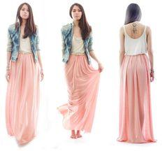 falda larga rosa